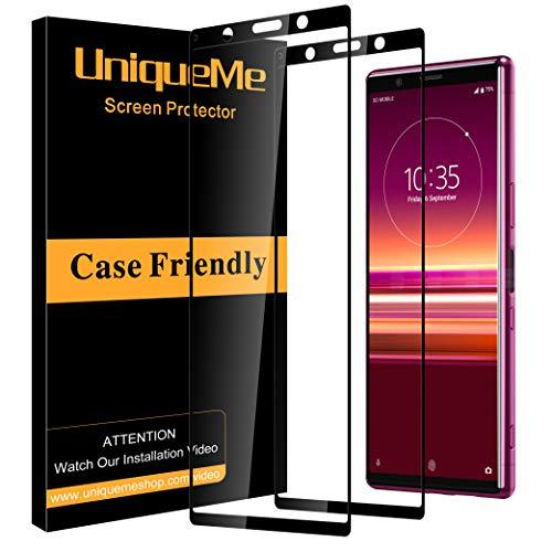 UniqueMe [2 Pezzi] Pellicola Protettiva per Sony Xperia 5, Sony Xperia 5 Vetro temperato[Copertura Completa] Proteggi Schermo in con Sostituzione a Vita - Nero