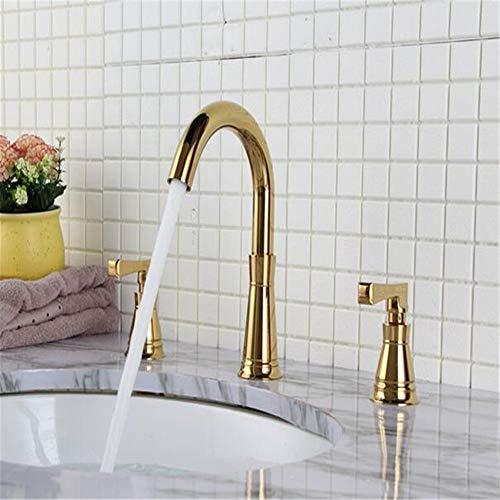 Waschtischarmatur Für Bad Wasserhahn Bad Europäische Doppelgriff Kupfer Gold Drei-Loch Mischhahn Alle Kupfer Becken Wasserhahn Retro-Stil Amerikanischen Dreiteiligen