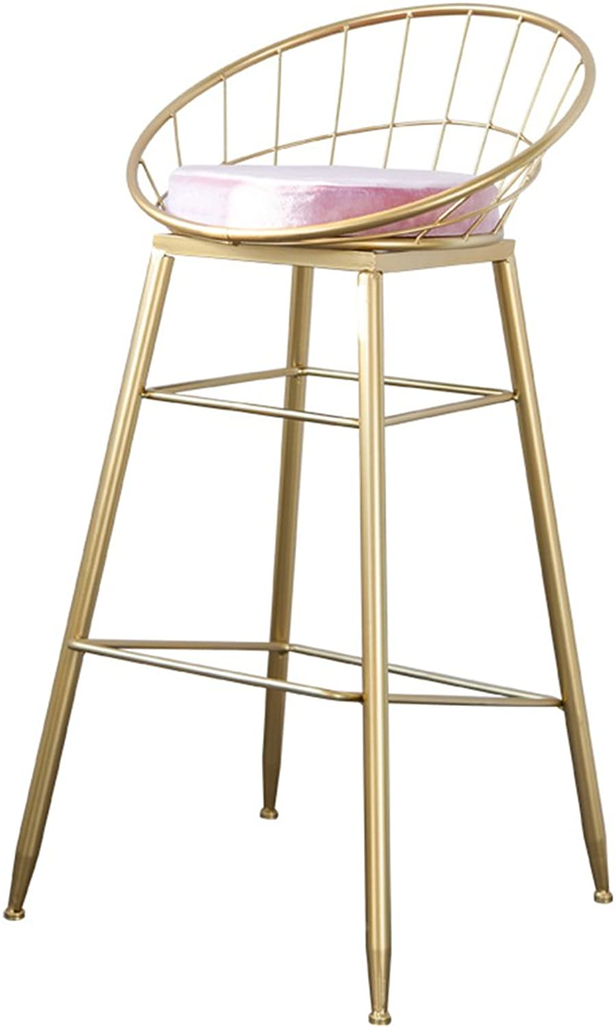 Iron Art Bar Chair, Home Northern Europe Style Armchair golden Bar Stool Bar Stool Bar Chair High Stool Casual High Chair Table Stool Decorative Stool Height 75CM (color   Pink, Size   65CM)