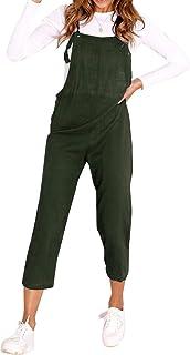 Lisli Femme Salopette Bretells /Ét/é Combinaison Grande Taille Coton et Lin Ample Large Harem Sarouel Pantalon Jumpsuit Loose Dos Nu Bodysuit avec Poches