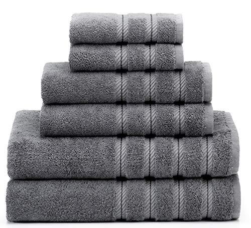 Soft & Absorbent Luxury Turkish Towel Set - Premium Genuine Cotton Hotel & Spa Quality Fluffy 2 Washcloths 2 Hand Towels & 2 Bath Towels by American Soft Linen (6-Piece Towel Set – Grey)