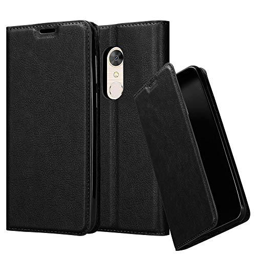 Cadorabo Hülle für Alcatel 5 in Nacht SCHWARZ – Handyhülle mit Magnetverschluss, Standfunktion & Kartenfach – Case Cover Schutzhülle Etui Tasche Book Klapp Style