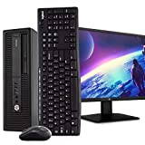 HP EliteDesk 800 G2 SFF PC Desktop Computer, Intel i5-6500, 8GB RAM, 500GB HDD, Windows 10 Pro, New 23.6' FHD V7 LED Monitor, New 16GB Flash Drive, Wireless Keyboard & Mouse, DVD, WiFi (Renewed)