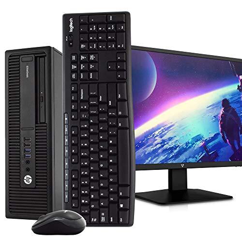 "HP EliteDesk 800 G2 SFF PC Desktop Computer, Intel i5-6500, 8GB RAM, 500GB HDD, Windows 10 Pro, New 23.6"" FHD V7 LED Monitor, New 16GB Flash Drive, Wireless Keyboard & Mouse, DVD, WiFi (Renewed)"