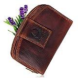 Geldbörse Damen Leder mit TÜV-zertifizierter RFID Schutz I Vintage Portemonnaie braun mit Reißverschluss in Geschenkbox Corno d´Oro CD23007