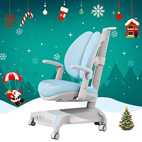 Kids Study Chair Auto Brake Casters Adjustable Height & Seat Depth for Growing Child Footrest Lumbar Support Homeschool Blue