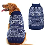 HOMIMP Argyle Dog Sweater - Warm Jumper Sweater Winter Clothes Puppy Soft Coat Dogs Navy Blue Large