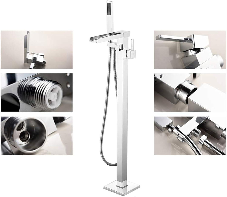 SXMXN Freistehender Badewannenarmatur aus Messing Bodenmontage Moderne Wannenarmatur Badewanne Brausebatterie & Handbrause,Chrome