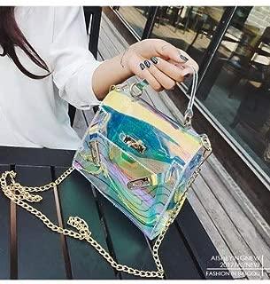 Gimax Shoulder Bags - by DHL or FedEx 50pcs Transparent Handbag Holographic Satchels Lady Clutch Women Chain Messenger Bag Large Capacity Laser Bag - (Size: 19x15x8cm)