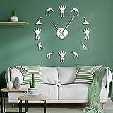 RUOXI Jirafa DIY Pegatinas de Espejo Arte de Pared Gigante sin Marco Reloj de Pared Animal decoración del hogar habitación Tipo Reloj Decorativo Reloj de Pared