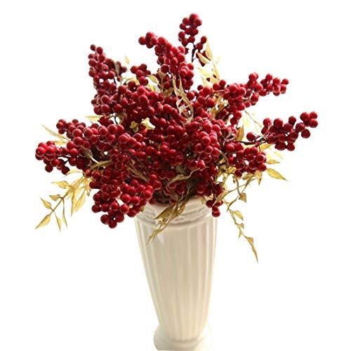 Provide The Best Haricots artificiels Fleurs Bouquet Bon augure De Noël Décor À La Maison Plante Baies 1 PCS