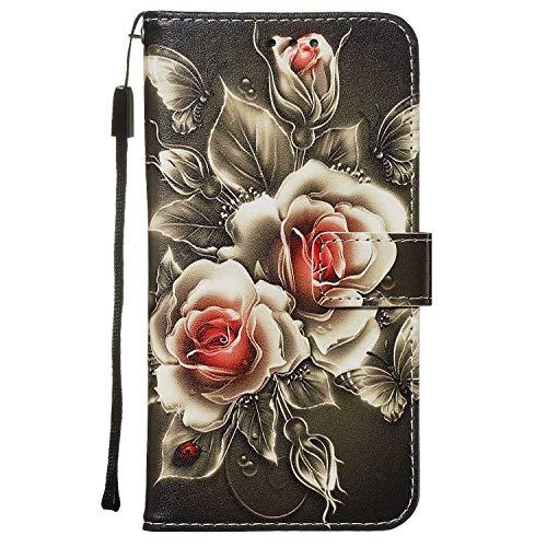 Nadoli Leder Hülle für Huawei P40 Pro,Bunt Rose Blumen Malerei Ultra Dünne Magnetverschluss Standfunktion Handyhülle Tasche Brieftasche Etui Schutzhülle