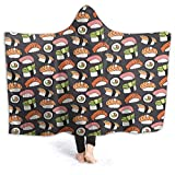 ZHONGKUI Hooded Blanket Delicious Sushi Flannel Wearable Throw Cape Hooded Fleece Warm Air-Conditioning Quilt 50'X40' Small