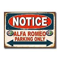 アルファロメオ駐車場のみティンサイン壁鉄絵レトロプラークヴィンテージメタルシート装飾ポスターおかしいポスターぶら下げ工芸品バーガレージカフェホーム