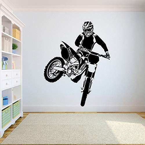 Muurtattoo Motorcross Crossmotor Sticker Slaapkamer sport crossmotor motorfiets Gepersonaliseerde jongens tienerkamer A 009 | Muurstickers 57X67CM