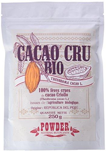 CACAO CRUDO ECOLÓGICO * Semillas de cacao 250 g * Antiinflamatorios, Antioxidantes, Cardiovascular (tensión) * Garantía de satisfacción o reembolso * Fabricado en Francia