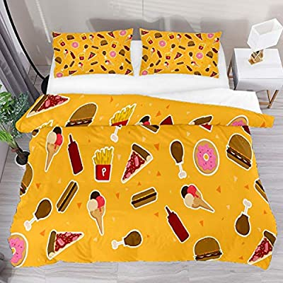 Parure de lit simple 3 pièces avec housse de couette colorée Fast Food Hamburger, pizza, donuts, crème glacée, frites, drap-housse, décoration de chambre pour garçons, filles, adolescents, adultes