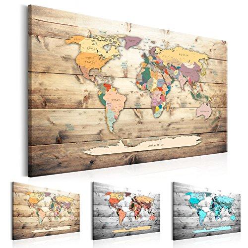 murando Mappamondo 120x80 cm 1 Parte Lavagna di Sughero & Quadro su Tela TNT XXL Stampa Bacheca Sughero Quadro con Tappo Immagini Decorazione da Parete Memoboard Mappa del Mondo k-B-0009-p-b