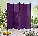 IMC Paravent 4-teilig violett Raumteiler Trennwand Sichtschutz, faltbar/flexibel verstellbar, wetterfester Polyester-Stoff, Schwarze Metallstangen
