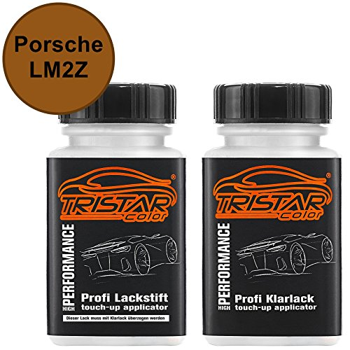TRISTARcolor Autolack Lackstift Set für Porsche LM2Z Nordischgold Metallic/Nordic Gold Metallic Basislack Klarlack je 50ml