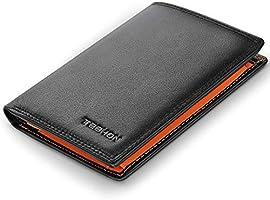 TEEHON® Portafoglio Uomo Brifold Vera Pelle Blocco RFID, con Tasca Portamonete, 12 Porta Carte di Credito, 2 Scomparti...