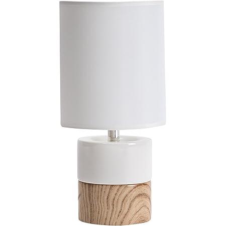 LUSSIOL Lampe de chevet KARINE, lampe décoratve céramique, Blanc/naturel, 40W, ø14 x H29 cm