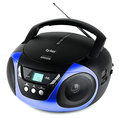 Tyler TAU101-BL Portable Sport Stereo CD Player - Single Disc, Speakers, AM FM Radio, Headphone Jack, Playback Function and Aux for iPod, Walkman, MP3, Compact Size and Battery Power, Blue