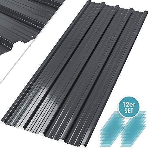 Kesser® - 12 x Profilblech Trapezblech 129cm x 45cm = 7 m² -Dachblech für Gerätehaus, Dachplatten Verzinkter Stahl 0,25mm, Anthrazit