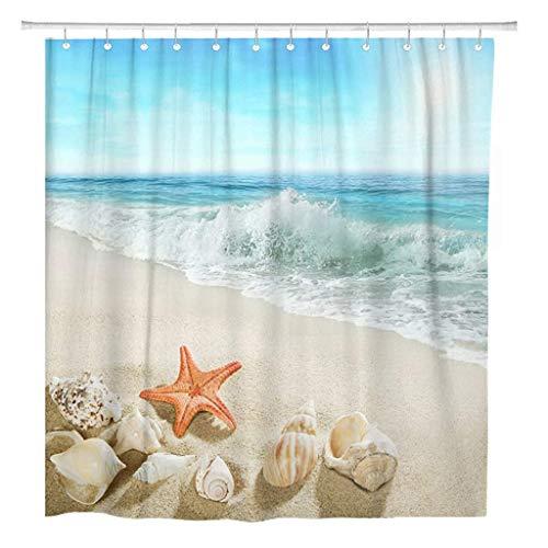 JOOCAR シャワー カーテン 夏の真っ青な波が起伏していますビーチ気候は田園メキシコビーチです シャワーカーテン防水スプラッシュファブリックバスルームアクセサリー