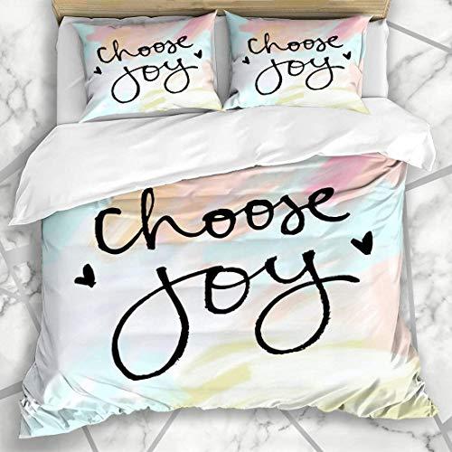 Set di biancheria da letto 695 Set copripiumino pennello scegliere Joy citazione carino mano scrittura arte moderna microfibra biancheria da letto con 2 federe cuscino