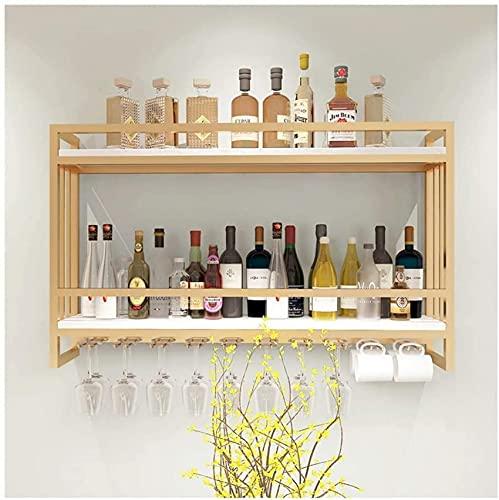 SACKDERTY Ferro Forjado nórdico, Rack de vinho de Madeira maciça, armário de vinho de Parede, vitrine de vitrine criativa de Parede, Rack de vinho suspenso, Rack (Cor: Ouro, Tamanho: 60 * 20