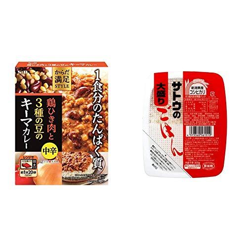【セット販売】エスビー食品 からだ満足STYLE 鶏ひき肉と3種の豆のキーマカレー中辛 180G ×6箱 + サトウのごはん 新潟県産コシヒカリ大盛 300g×6個