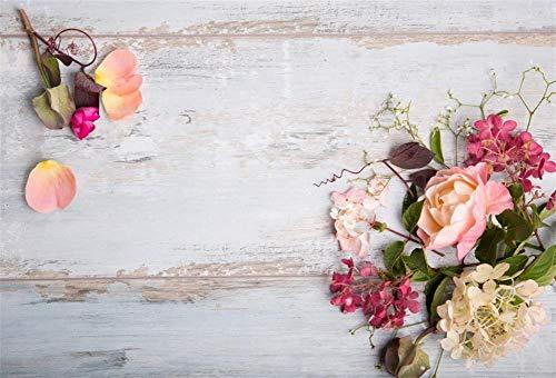 Fondos de fotografía Tablero de Madera Flores de Primavera Tablones con borlas Decoración Fondo fotográfico Accesorios de Estudio A16 10x10ft / 3x3m