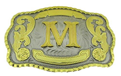 Unbranded* Große Gürtelschnalle im Western-Stil, Cowboy-Rodeo, Goldfarben, Groß, quadratisch, Buchstabe M