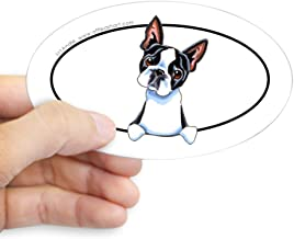 CafePress Boston Terrier Peeking Bumper Oval Bumper Sticker, Euro Oval Car Decal