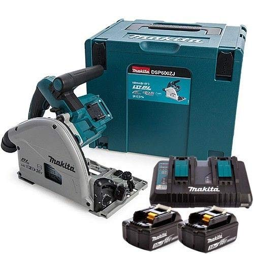 Makita DSP600KIT2 DSP600ZJ Twin 18V/36V Brushless Plunge Saw with 2 x 3.0Ah BL1830 Batteries & DC18RD Charger