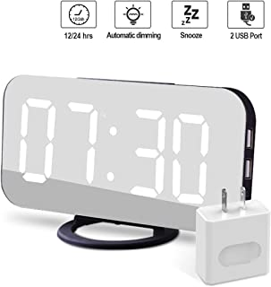 EVILTO Modern Alarm Clock with USB Charger Ports Digital Mirror Alarm Clock Best Decorative for Table Bedroom Wall LED Time Clock Unique Square Alarm Clocks Plug in Clock with Charging Plug