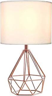 Wankd Lámpara de mesa, bonita lámpara de mesa de color cobre estilo retro con pantalla blanca, incluye cable, enchufe e interruptor de encendido/apagado en línea