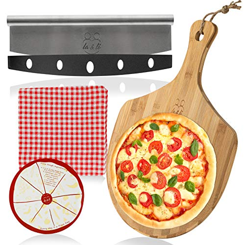 La & Li Premium Pizza Peel and Cutter Set: Large 18 x 13 Inch 100% Bamboo Spatula Paddle Board Shovel with Handle, Knife, Tablecloth, Magnetic Board