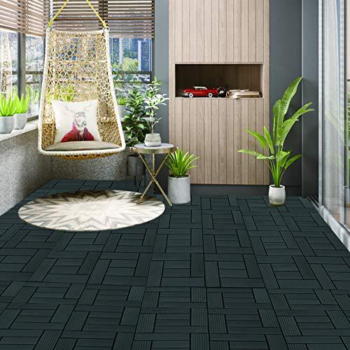 WOLTU 11 Stück WPC Terrassenfliesen Holzoptik Anthrazit, Premium Fliese Terrassendielen Bodenfliese mit klicksystem, Klickfliese Bodenbelag (1 m²) - 4