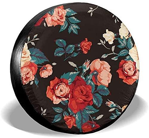 Lewiuzr Rose Flowers Floral Negro Portátil Poliéster Rueda de Repuesto Cubierta de neumático Ajuste Universal