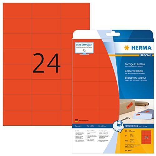 HERMA 4467 Farbige Etiketten DIN A4 ablösbar (70 x 37 mm, 20 Blatt, Papier, matt) selbstklebend, bedruckbar, abziehbare und wieder haftende Farbetiketten, 480 Klebeetiketten, rot