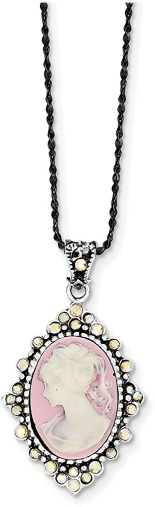 Quantity limited Finejewelers Sterling Silver New mail order Crystal Cameo 1 W Pendant Necklace
