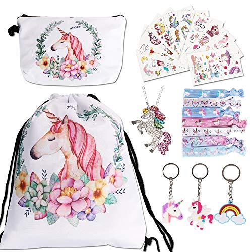URAQT 23 Stück Einhorn Kordelzug Rucksack Geschenke für Mädchen/Make-up Tasche/Haargummis/Geldbörse/Schlüsselanhänger/Armbänder als Partygeschenk, Blütenfarbe