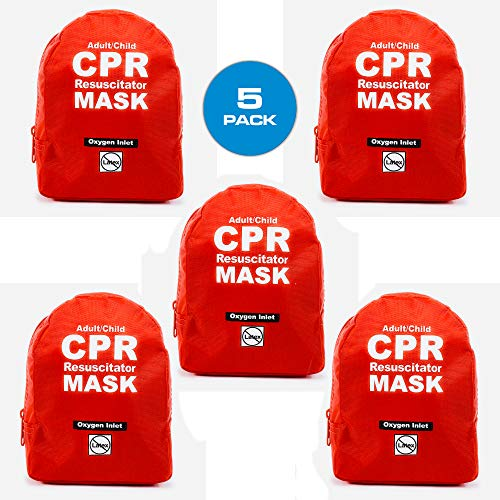 WNL Products CPR Rescue Mask Adult/Child Pocket Resuscitator Soft Case Kit with Belt Clip 5 Pack