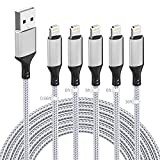Paquete de 5 cables Lightning para iPhone(0.66/6/6/6/16FT), [certificado MFi] Cable de carga USB A Apple Lightning trenzado de nailon Cable cargador compatible con iPhone 12 11 Pro Max XR XS 8 Plus SE