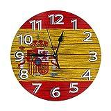 Eileen Max España Textura de Madera Bandera española Inicio Reloj de Pared Decoración Ronda Interior Cocina Personalidad Dormitorio Sala de Estar