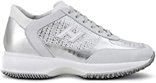 HOGAN Women's HXW00N0BH50KL40QDC Silver Leather Sneakers