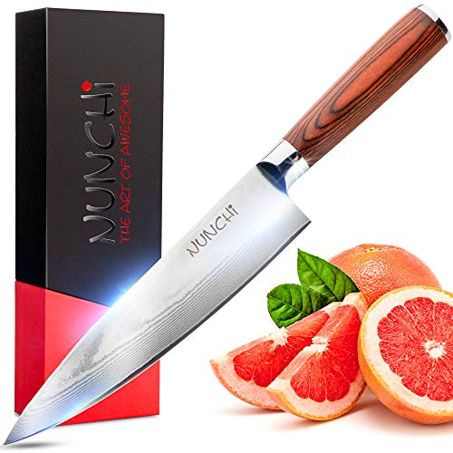 Chef Kitchen Knife - Professional Japanese Damascus 8 inch Blade with VG-10 Stainless Steel, Beautiful Handcrafted 67 layer Ultra Sharp