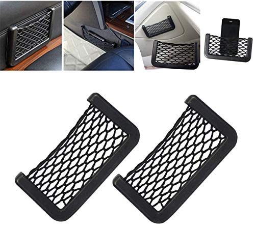 HonLena Kofferraum Netztasche,2 Stück Car Trunk Storage Net,Magic selbstklebend Ablagenetz Elastic String Netz Mesh-Tasche für Auto/SUV Kofferraum Gepäcknetz